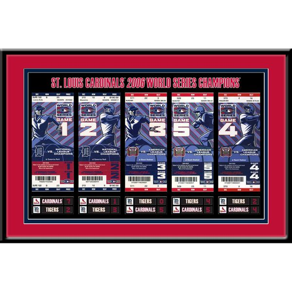 """St. Louis Cardinals 18"""" x 12"""" 2006 World Series Tickets To History Framed Print - $44.99"""
