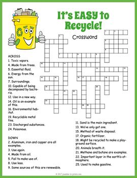 Recycling crossword puzzle worksheet activity for kids.