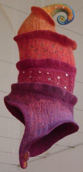 Felted hat by Hungarian artist Judit Pocs  Holy elf noggin, batman.