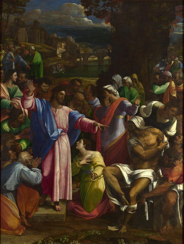The Raising of Lazarus (1517–19), Sebastiano del Piombo incorporating designs by Michelangelo.