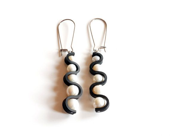 Large wavy pearl earrings handmade using recycled bicycle inner tube by livelyleafdesigns