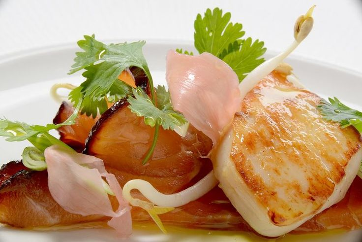 Treacle salmon, scallops, pickled ginger recipe by professional chef Nigel Haworth