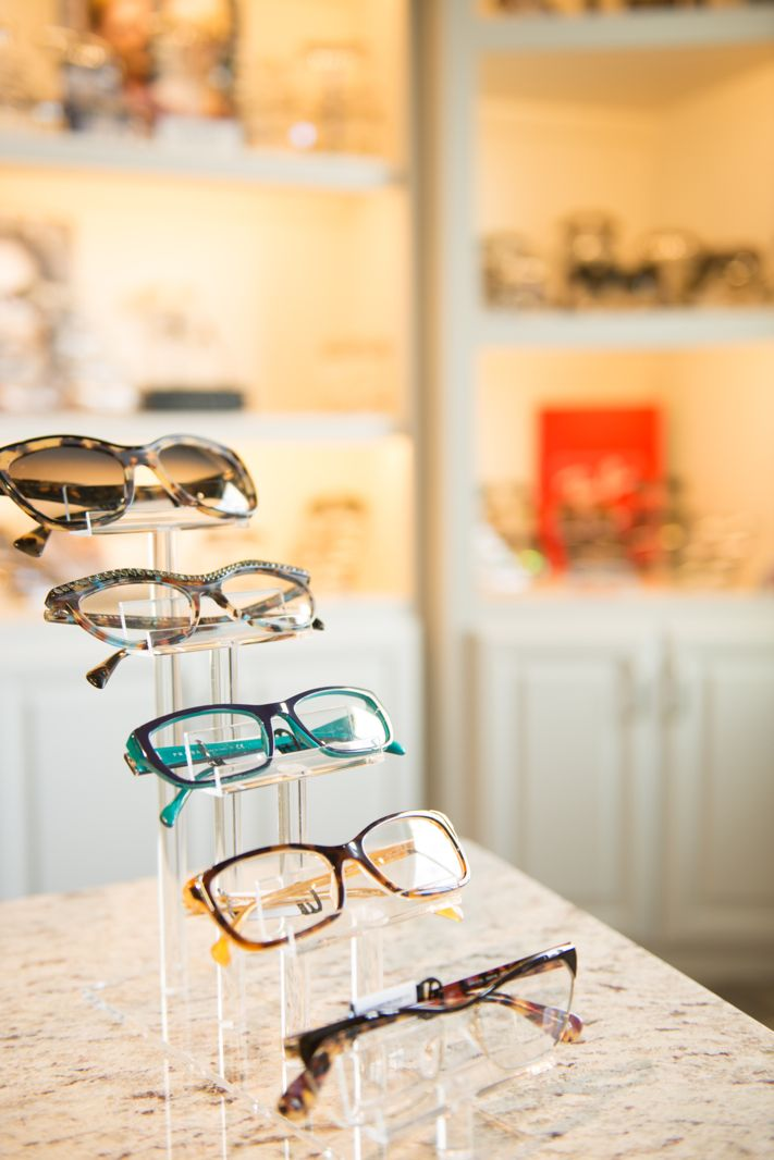 Remember to face your frames facing up when on a low shelf for your customer's to see the frame's closely. Just like Dr. Gaddis has done in this photo.