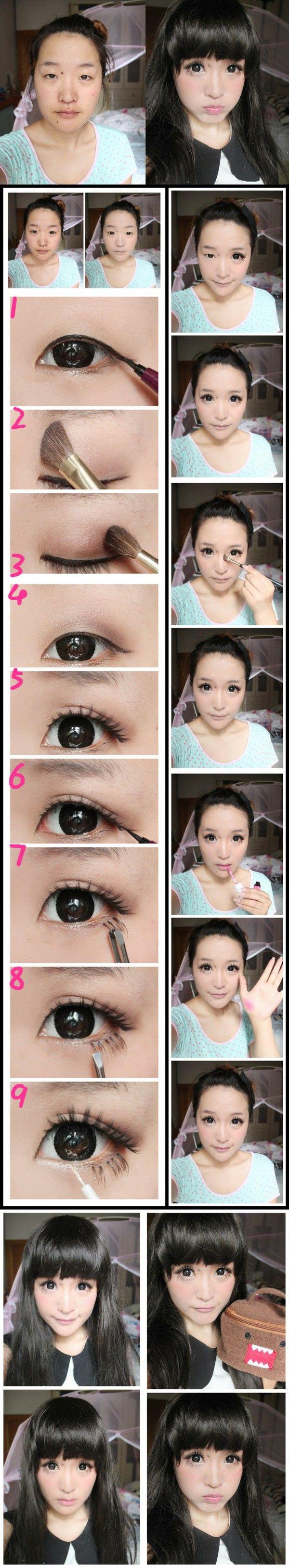 Monolid ulzzang makeup transformation by  灵鸾妮妮 Lingluan Nini