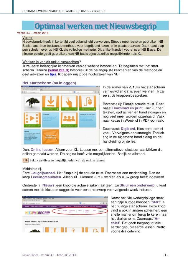 Optimaal werken met Nieuwsbegrip - versie 3.3