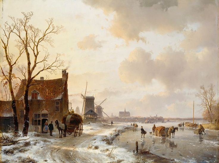 Andreas Schelfhout, Winterlandschap, 1844.