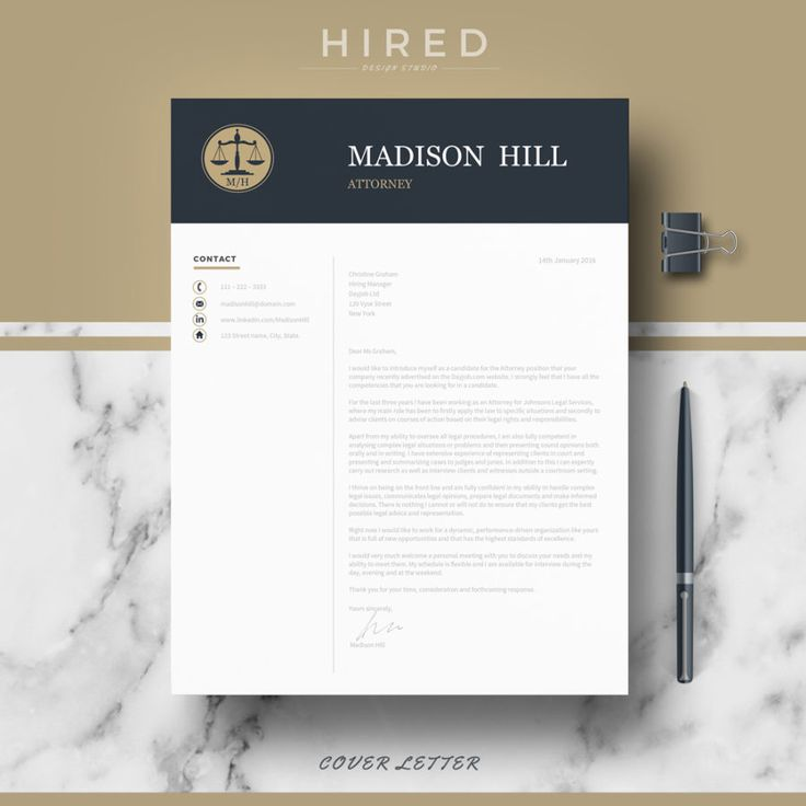Legal Resume Template for MS Word u201cMadisonu201d