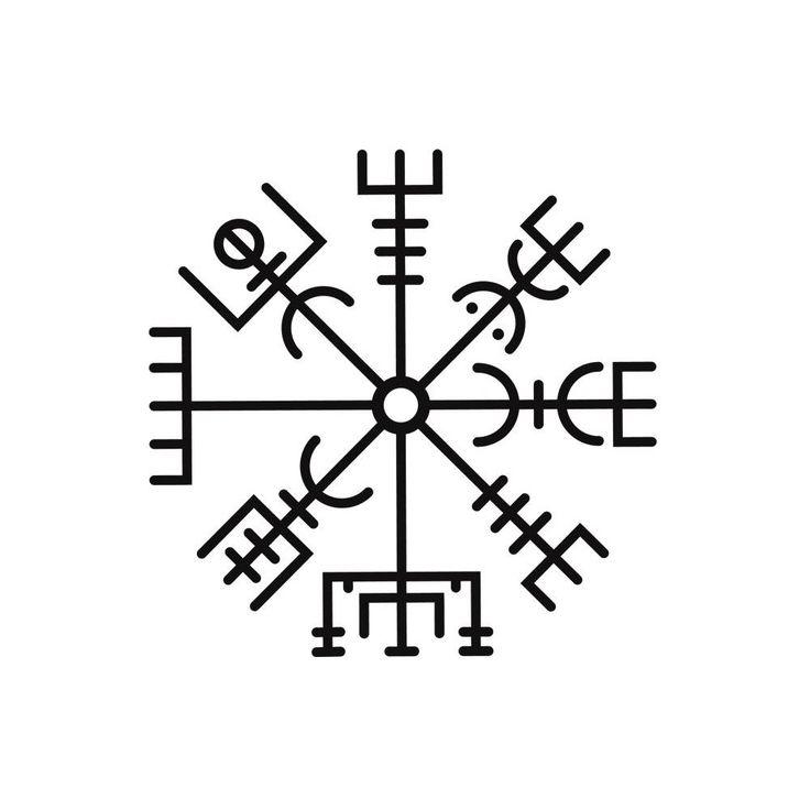 """Se cree que este signo mágico da a su portador la capacidad de guiar a las personas a través del mal tiempo. La palabra significa literalmente """"hito"""" o """"señal de dirección ' en islandés...."""