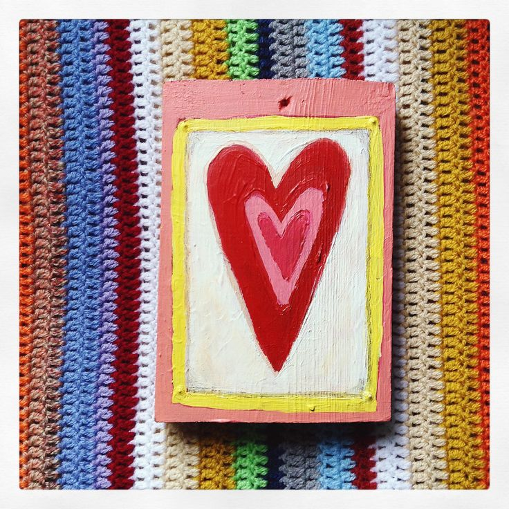 Wooden heart painting acrylic
