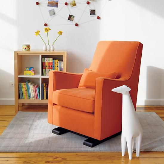 Nursery Gliders: Orange Upholstered Monte Luca Glider and Ottoman in Rockers & Gliders | The Land of Nod