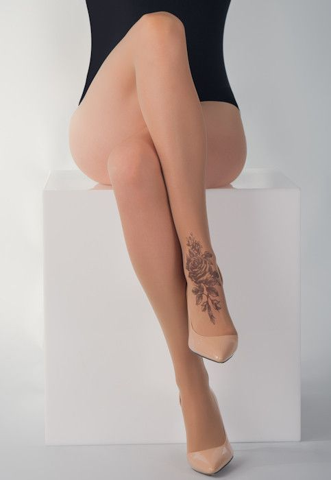 Shaded Rose Foot Tattoo Printed Tights | Online Store – Stop & Stare Designs Co