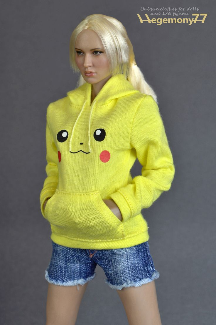 1/6 scale custom female Pikachu sweater and washed jeans shorts on Pichen female collectible action figure body with Babydoll head | One sixth scale unique quality custom collectible action figure clothes and high resolution photo made by Hegemony77