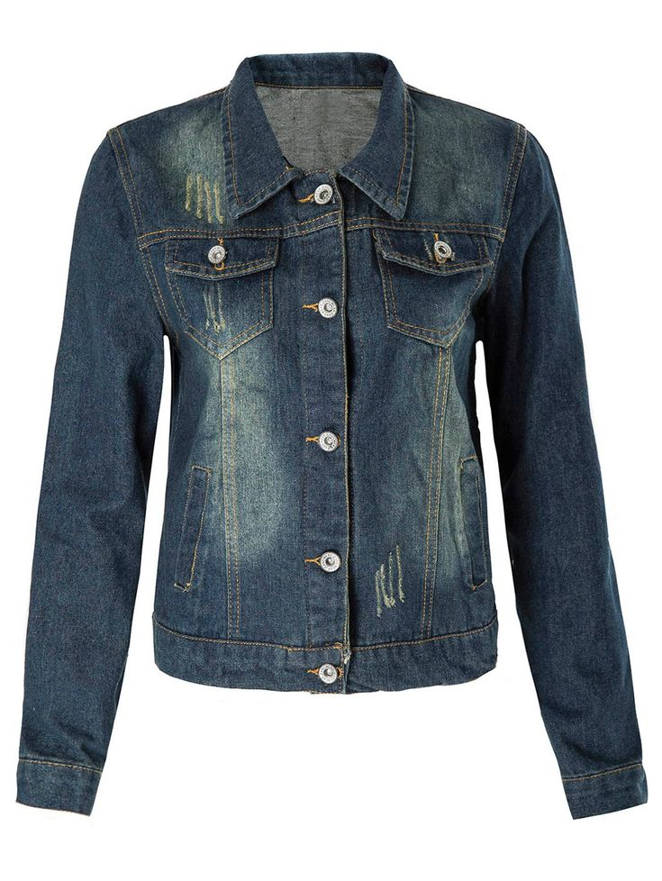 Frayed Single-Breasted Stylish Turn-Down Collar Long Sleeve Denim Coat For Women #women, #men, #hats, #watches, #belts, #fashion, #style