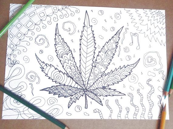 marijuana adult coloring cannabis leaf relax Gānjā coloring instant download colouring nature zen printable print digital lasoffittadiste