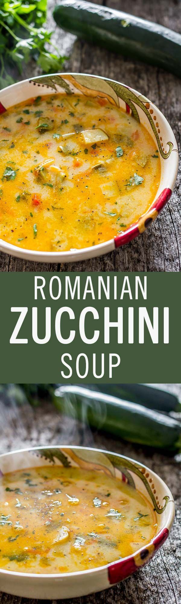 This delicious vegetable sour soup recipe of Romanian origin, sporting zucchini as a star ingredient, can be easily transformed into a vegetarian or vegan dish.