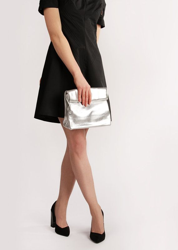 Handmade Leather Lunch Bag Claude Silver by A-Rada