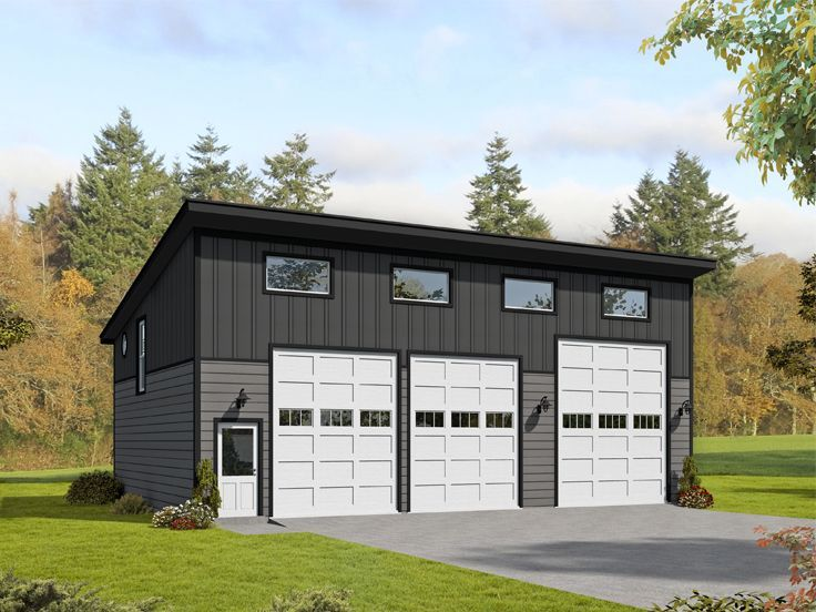 062g 0162 Modern Garage Plan With Boat Storage And Flex Space Modern Garage Garage Design Plans Garage Plans With Loft