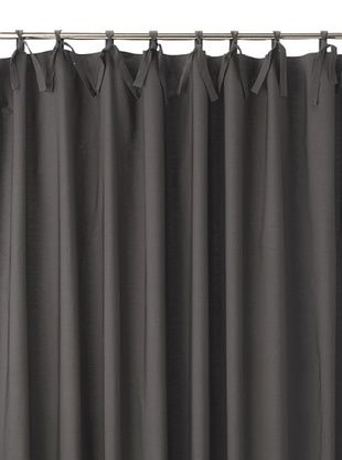 Coyuchi Pin Tuck 300 Percale Shower Curtain, Charcoal