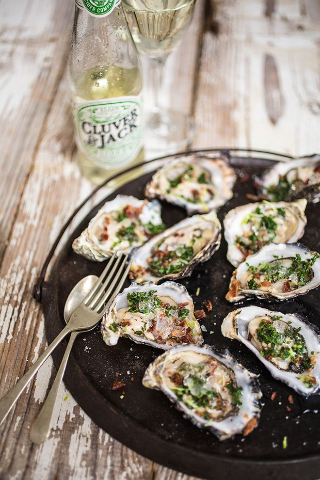 Oysters with Cider Granita & Crispy Bacon