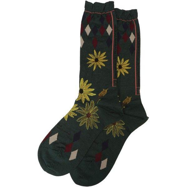 Socks ($24) ❤ liked on Polyvore featuring intimates, hosiery, socks, green, woolen socks, antipast socks, antipast, elastic socks and embroidered socks