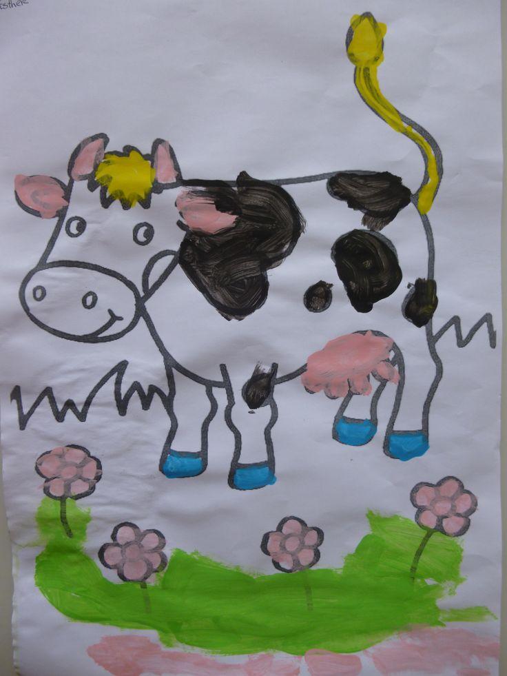 Koe verven in groep 1.