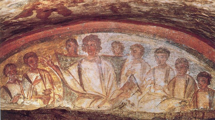 Rome | 2nd Century Fresco of the Last Supper, Catacombe di San Domitilla (Catacombs of St. Domitilla)