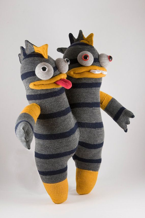 Herp and Derp - intrepid conjoined twin sock monsters