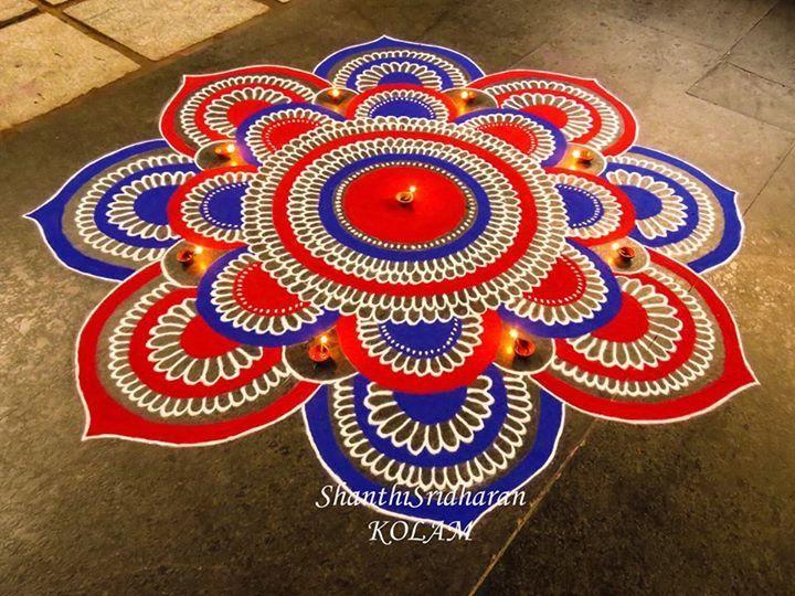 #mandala#kolam%red#blue