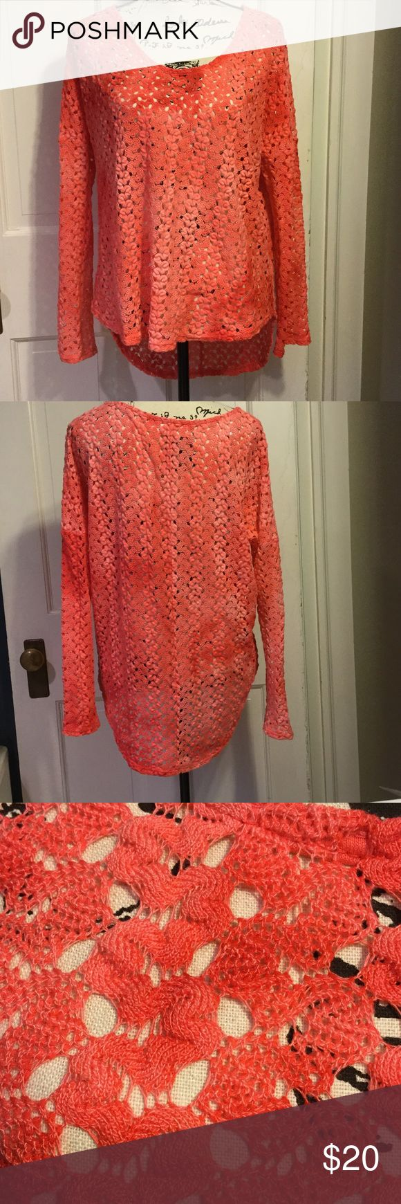 Vintage Havana crochet long sleeve top coral OS NWOT Vintage Havana crochet knit see through top. long sleeves,longer back, beautiful marbled  shades of coral. This is unsized like a one size fits most.will look great with tank top, tee, or bathing suit too. Vintage Havana Tops Blouses