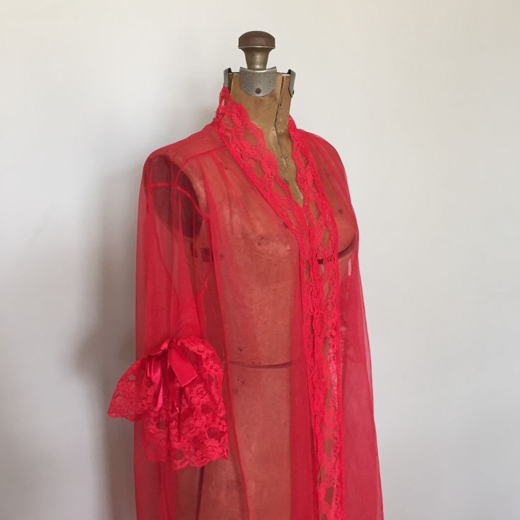 Red Negligee, Vintage Nylon Peignoir, Chiffon and Lace Robe, Red Valentine Lingerie, Floor Length Sheer Robe, Size Large Red Peignoir by AlegriaCollection on Etsy