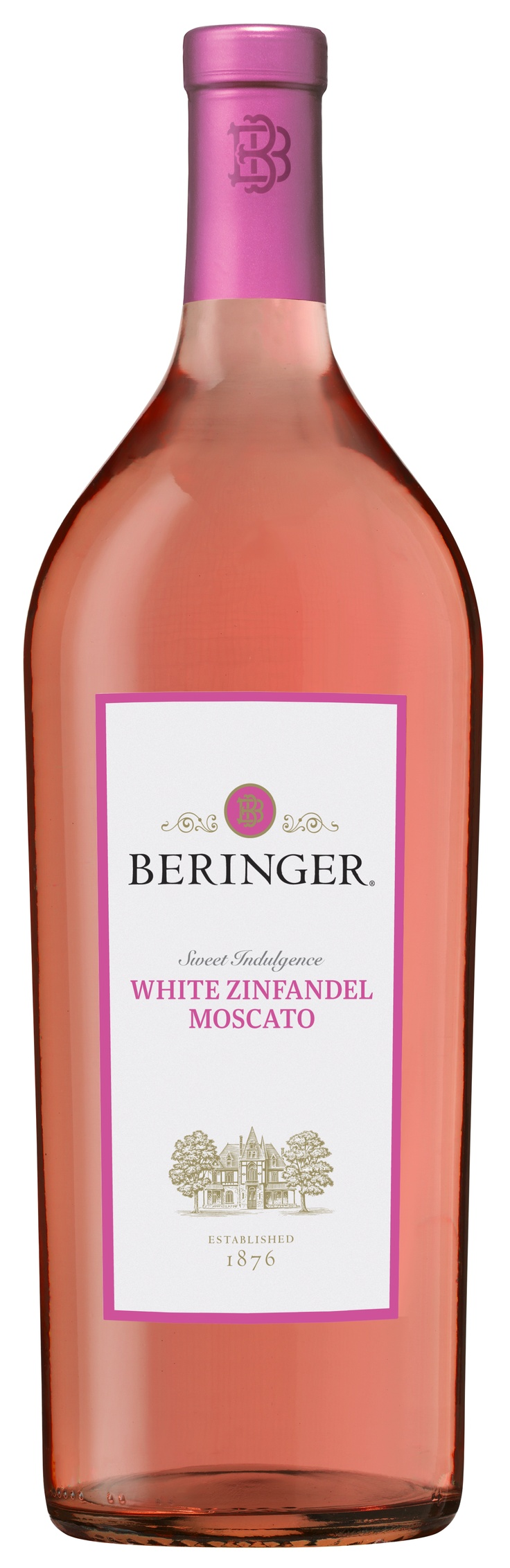 Beringer White Zinfandel Moscato: Rich in texture and not overtly sweet, this wine has great intensity on the nose -- aromas of bright cherries, watermelon sorbet, and strawberries, with a hint of perfume from the Moscato. According to the winemaker, this wine finishes with just enough zest to please a multitude of palates.