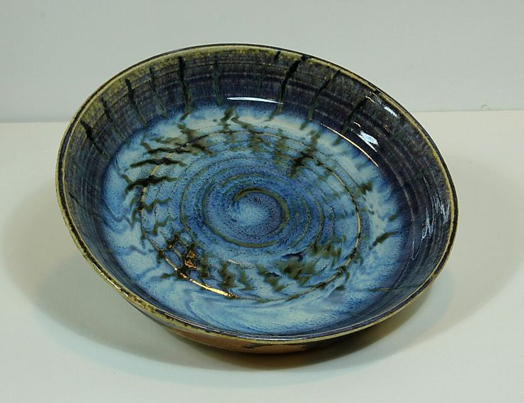 Pirjo Lautiainen, wheel thrown and anagama fired platter, blue chun glaze