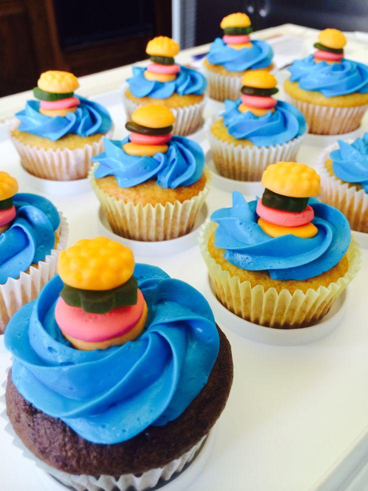 SpongeBob themed birthday party, crabby Patty cupcakes