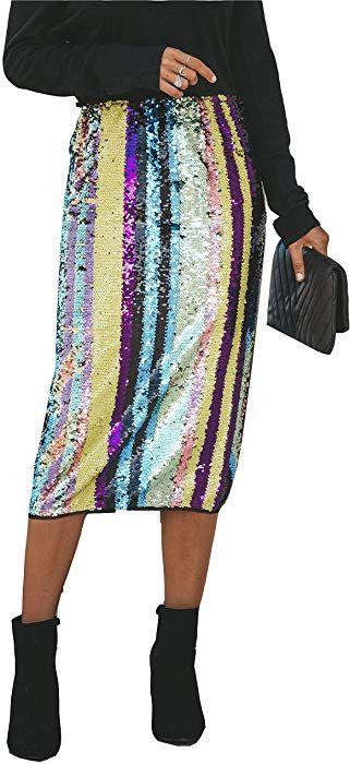 bf5b7b09f MarcoJudy Womens Rainbow Striped Tie Dye High Waist Bodycon Midi Pencil  Skirt (Small, Sequin) at Amazon Women's Clothing store: