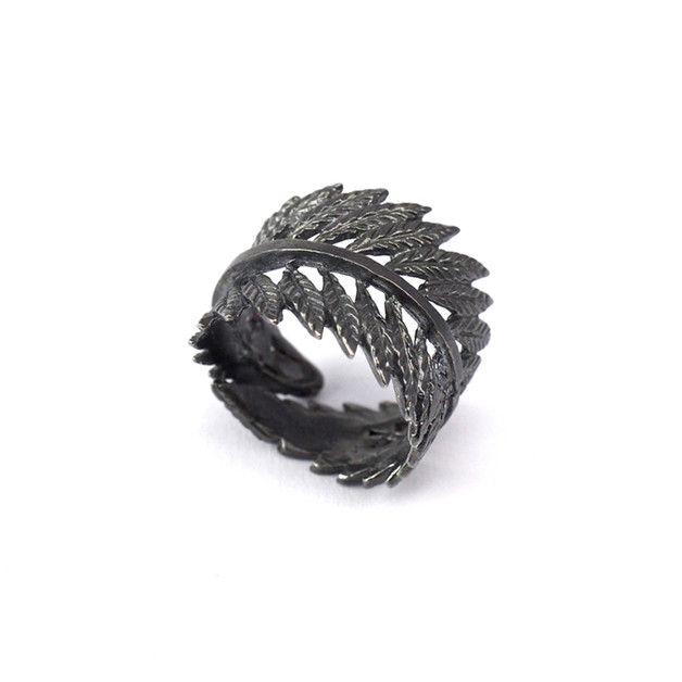 Obrączka Liść z oksydowanego srebra