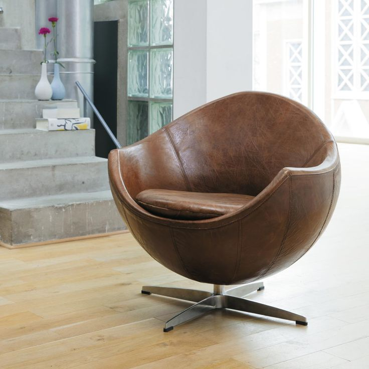 Vintage-Sessel Leder braun MARS