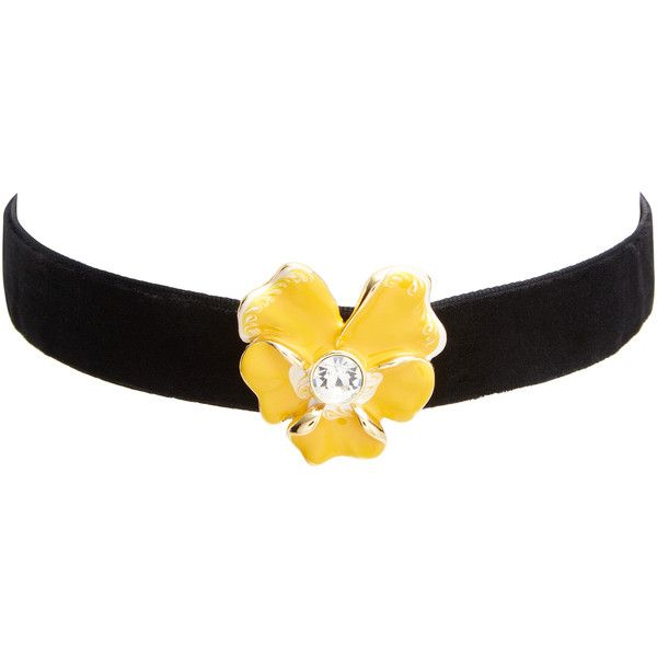 Kenneth Jay Lane Women's Crystal Flower Velvet Choker - Yellow ($39) ❤ liked on Polyvore featuring jewelry, necklaces, yellow, long necklaces, crystal necklace, crystal flower necklace, flower necklace and crystal jewelry