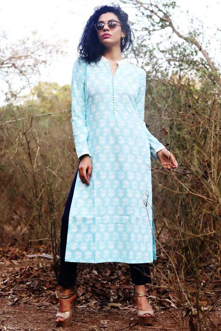 #Lalgulal Sky #Blue Fluidic #Cotton #Fancy #Readymade #Indo-#Western #Kurti Buy Now :- http://goo.gl/sHJxWz To Order you Call or #Whatsapp us on +91-95121-50402. #COD & #FreeShipping Available only in India.