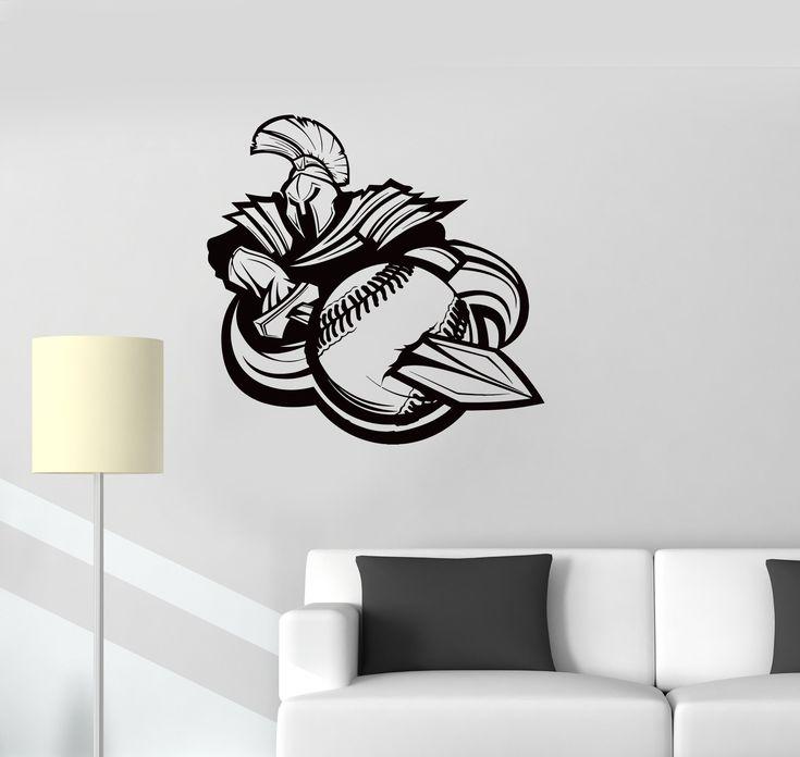 Vinyl Decal Baseball Mascot Amulet Sports Spartan Warrior Ball Wall Sticker Mural Unique Gift (ig2748)
