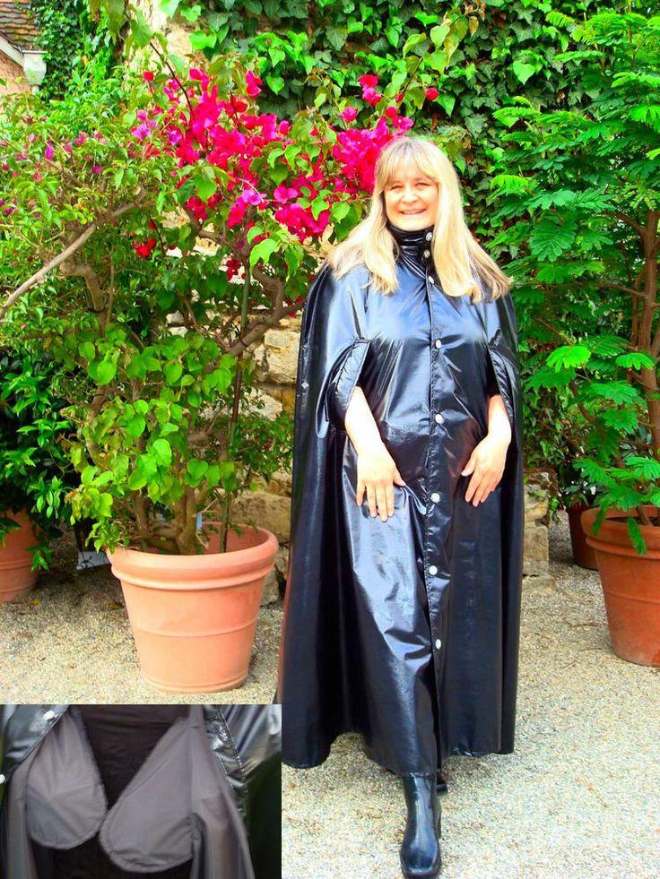 Lack Rain Cape Regencape Regenmantel Vintage Pelerine shiny wetlook Raincoat