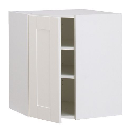 Corner cabinet akurum corner wall cabinet white del for Off the shelf kitchen units