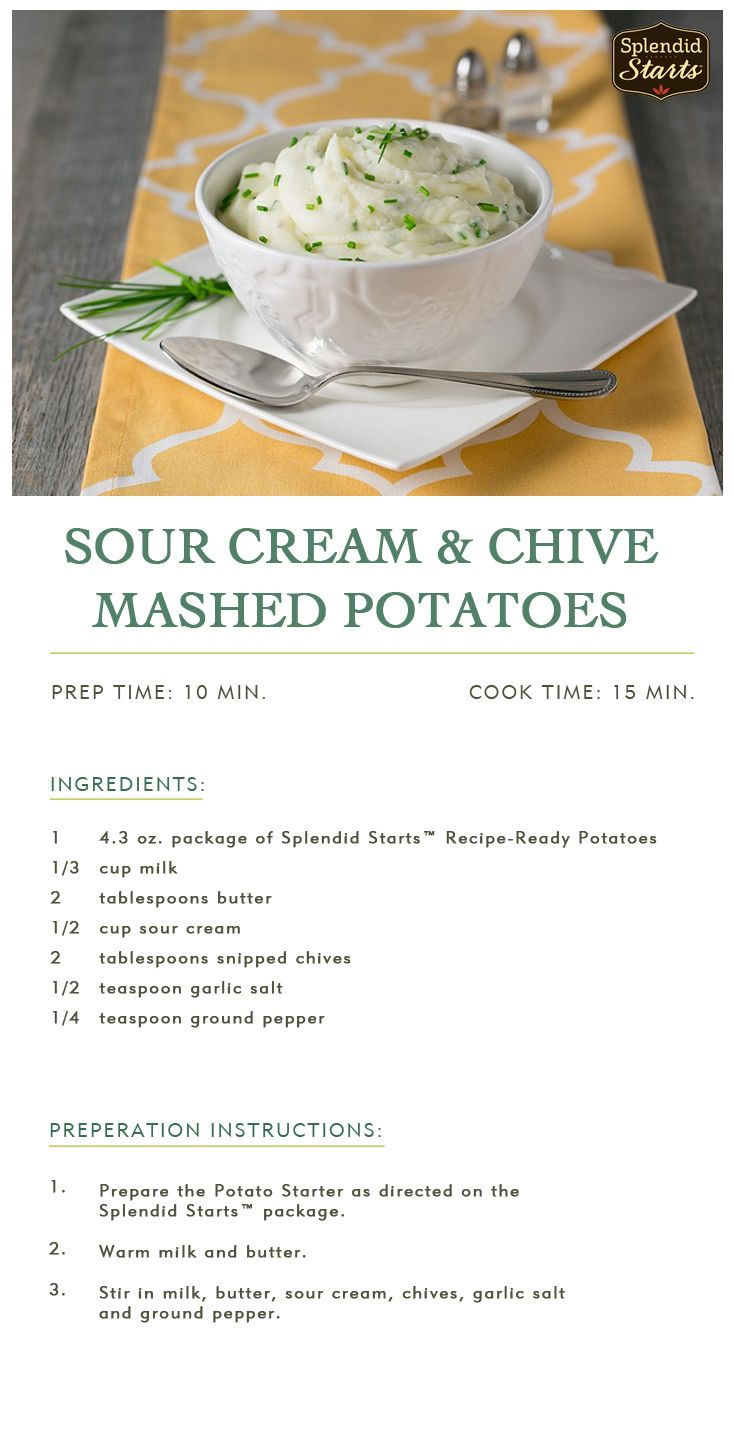 Sour Cream & Chive Mashed Potatoes: Classic flavors, simple prep. Make ...