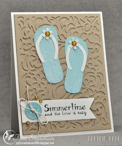 Curtain Call Inspiration Challenge: Flip Flops. I'm using stamps and dies from Taylored Expressions.