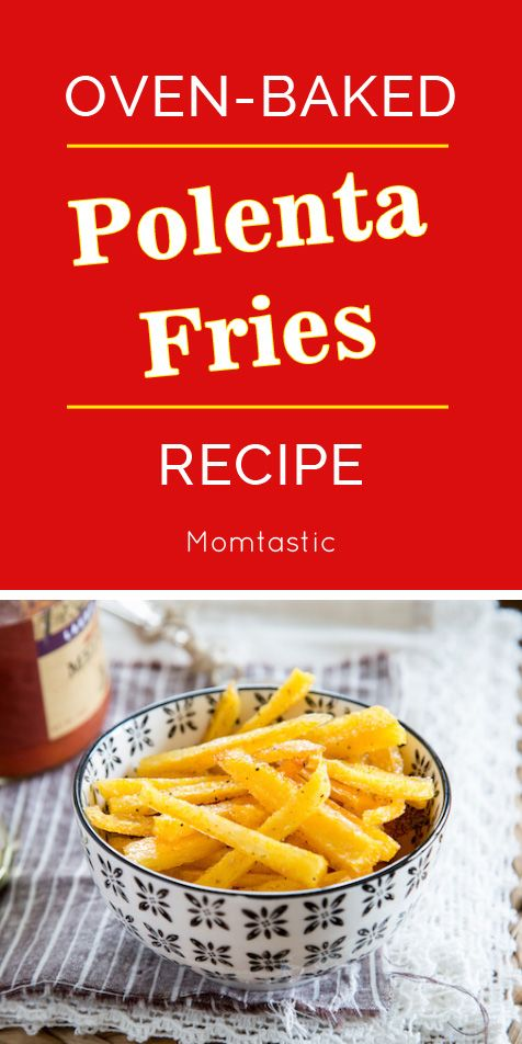 """With just four ingredients and in under thirty minutes you can bake a batch of crispy """"fries"""" made form a tube of store-bought polenta! Serve up these crispy polenta fries with your favorite dip or sauce; they are perfect for a quick and simple appetizer, side for kids' dinners, or a tasty, no-fuss movie snack."""