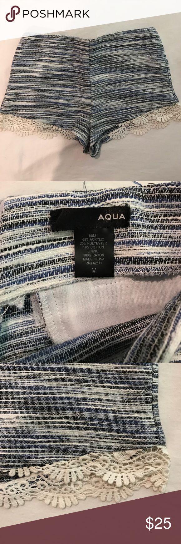 AQUA tweed shorts with lace trim size medium multi blue tweed patterned shorts with scalloped lace trim worn twice Aqua Shorts