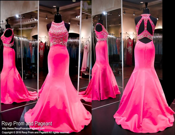 Fuchsia Satin Mermaid Prom Dress-Open Back-High Neckline-116SK040040