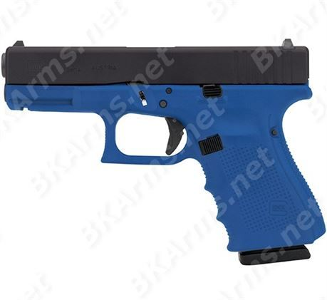 """FREE SHIPPING to CONUS! GLOCK PG1950203NRA G19 GEN4 9MM 4.02"""" NRA BLUE CERAKOTE Exclusive. Product Details:   Caliber/System: 9x19 / Safe Action. Length:7.28 in. Width: 1.18 in. Length Between Sights: 6.02 in. Height: 4.99 in. Barrel Height: 1.26 in. Barrel Length: 4.01 in. Weights: Unloaded: 23.65 oz., Loaded: 30.18 oz. Trigger Pull: 5.5 lbs. Trigger Travel: 0.49 in. Barrel Rifling: right hand, hexagonal. Length of Twist: 9.84 in. Magazine Capacity: Standard: 15. New firearms ..."""
