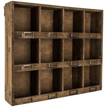 Antique Brown Wooden Wall Shelf with 12-Slots