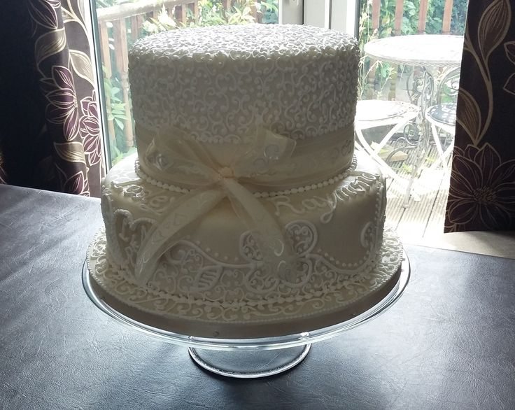White & Ivory Lace Opulent Wedding Cake - perfect for the small wedding - a cake with real presence