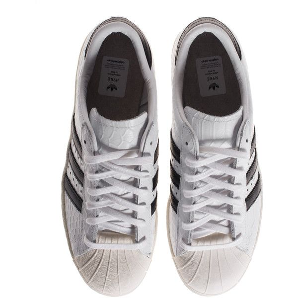 ADIDAS ORIGINALS BY HYKE Superstar Snake White Leather sneakers in... (€139) ❤ liked on Polyvore featuring shoes, sneakers, adidas, clothes - shoes, adidas originals trainers, genuine leather shoes, leather footwear, white shoes and leather shoes